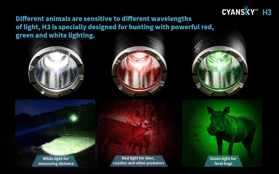 Cyansky H3 red green white colored  hunting flashlight