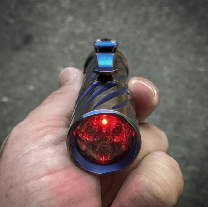 Lux-RC flashlight engine in a custom Hanko Machine Works Titanium Trident