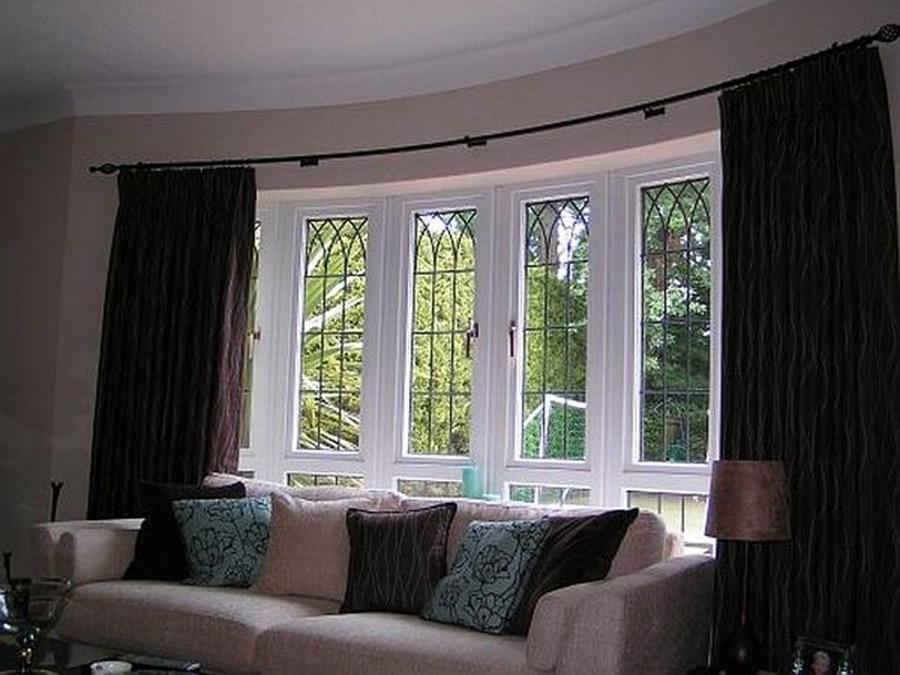 Green And Gray Living Room Window Treatment