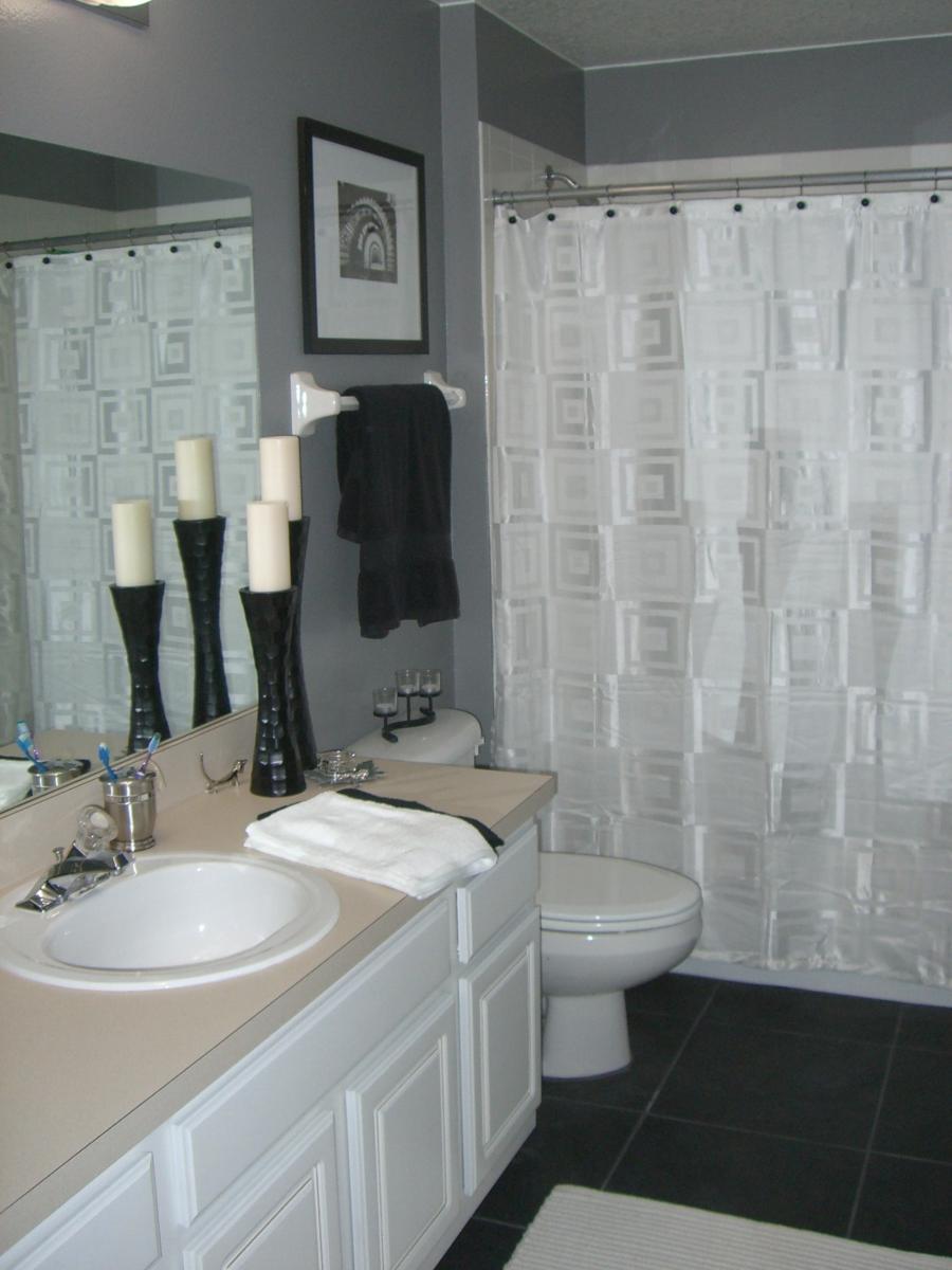 Bathroom White And Gray Yellow