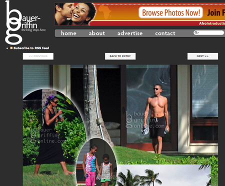 Drukke website door ontblote torso Obama