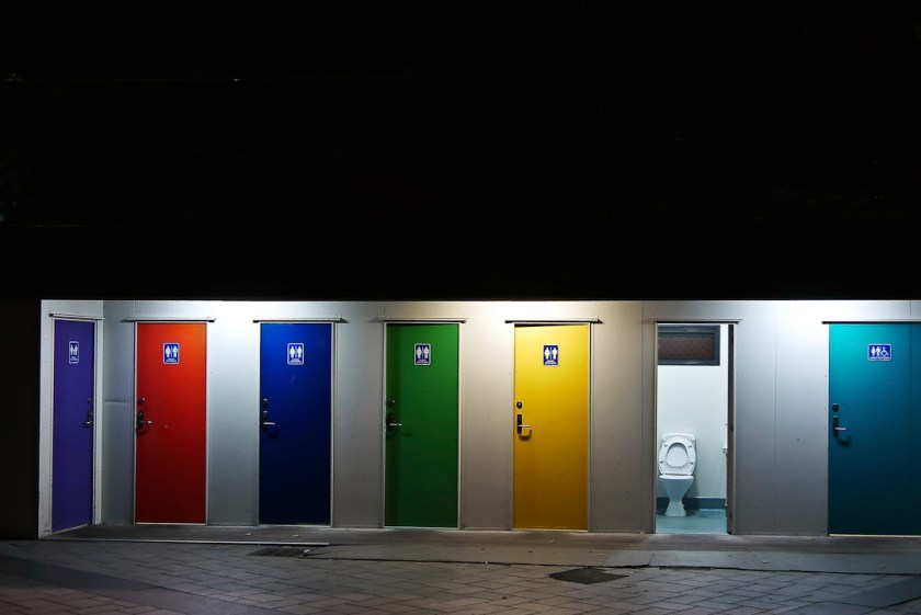 Christchurch public toilets near the Square at night