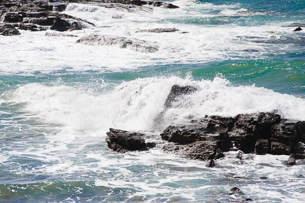 The sea washing over rocks.