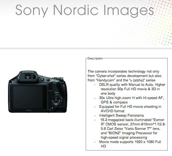 Sony DSC HX100V camera leak Sony DSC HX100V camera leaked