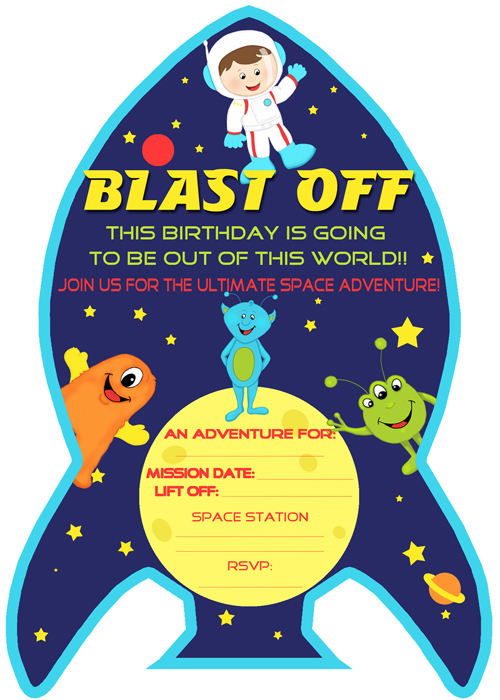 free outer space party printables from