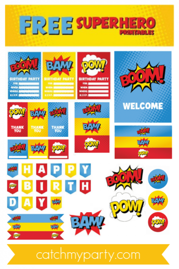 free superhero party printables