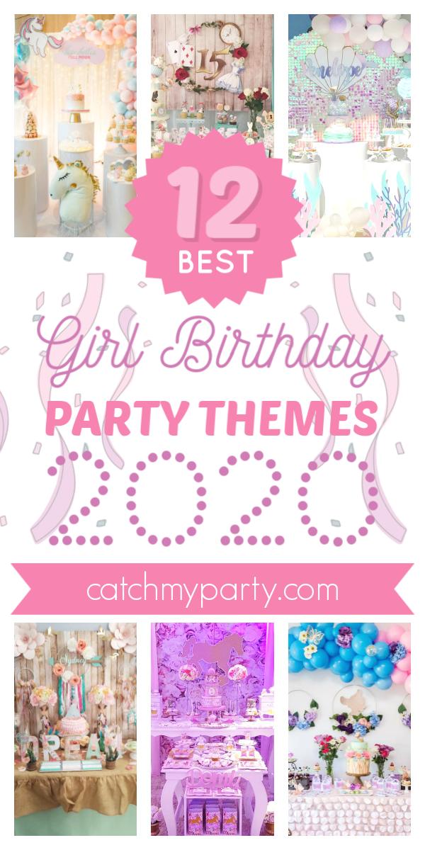 Collage de los temas de fiesta de cumpleaños de niña más populares para 2020