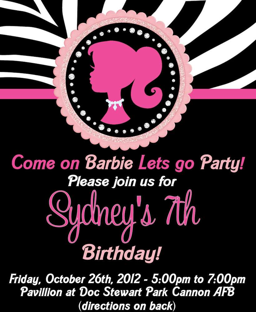 barbie invitation 7th birthday cheap online