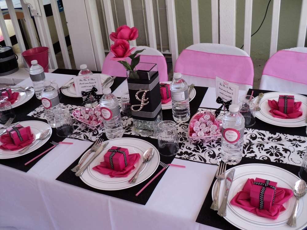 Hot Pink,black And White. Baby Shower Party Ideas