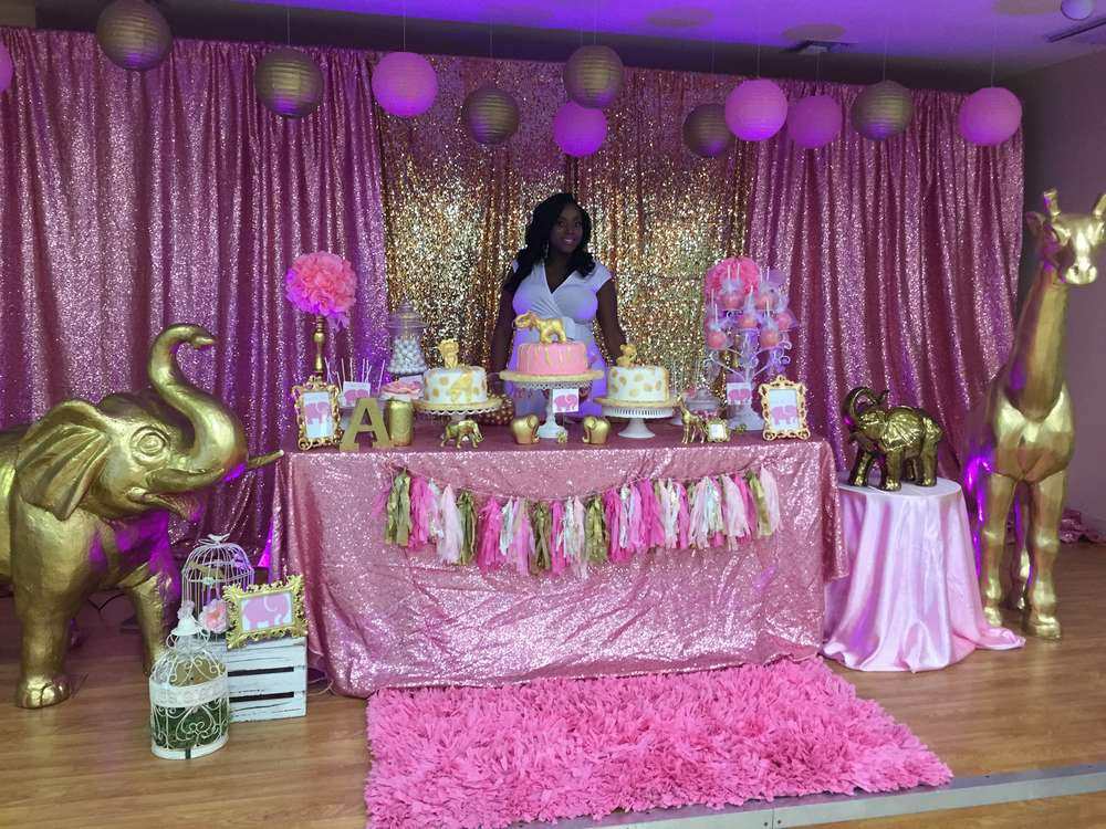 Pink Amp Gold Safari Baby Shower Party Ideas Photo 1 Of 21 Catch My Party