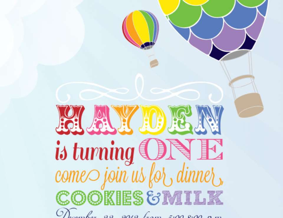 birthday rainbow hot air balloon