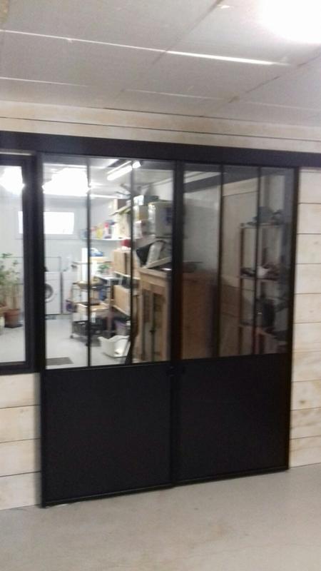 porte coulissante vitree en acier esprit atelier noir 83 cm