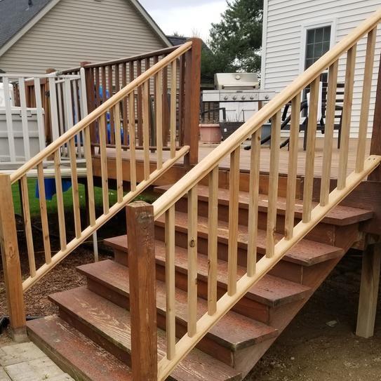 6 Ft Pressure Treated Cedar Tone Wood Moulded Handrail 211698 At | Cedar Handrail Home Depot | Railing Systems | Handrail Kit | Cedar Tone | Deck Stair Railing Kit | Aluminum Balusters