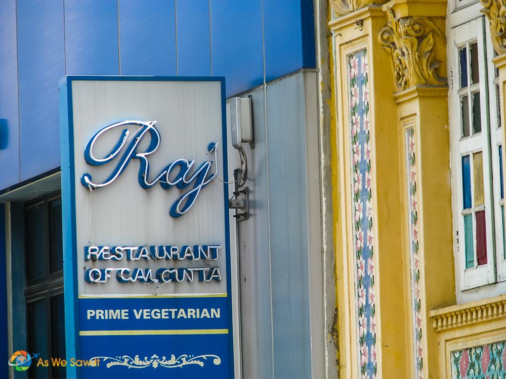 Sign for Raj vegetarian restaurant, Singapore