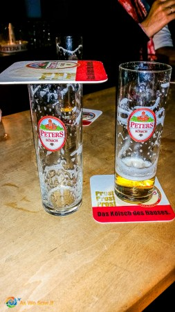 The custom in Kolsch biergartens is to cover the glass when you've had enough.