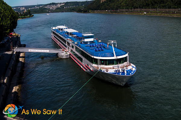view of river cruise ship from overhead