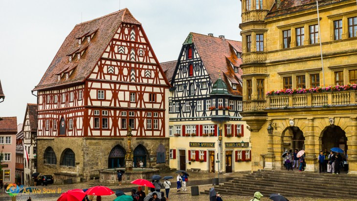 Like these half-timbered houses colorful, quaint and charming are starting points to describe Rothenburg, Germany.