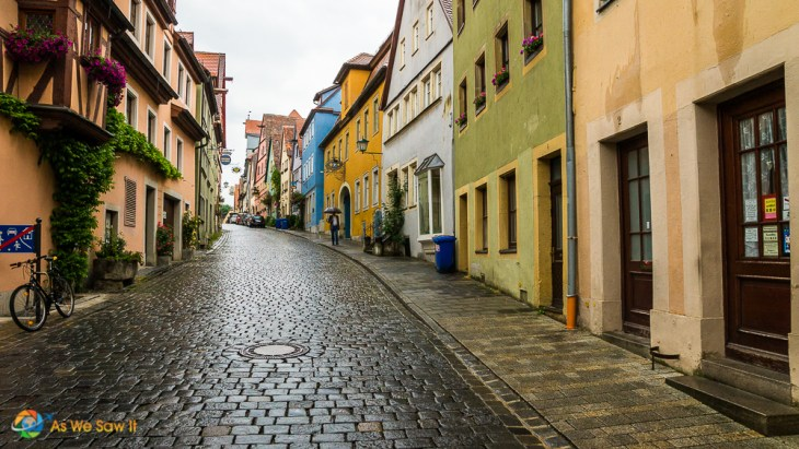 Rain drenched streets awaited our visit adding to the character of Rothenburg, Germany.