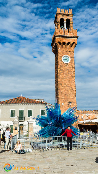 Campo Santo Stefano and abstract blue glass sculpture