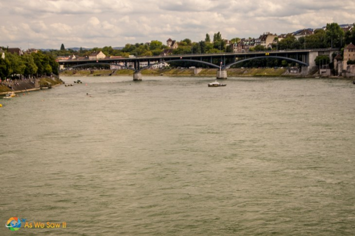 Rhine River swimmers in Basel Switzerland.