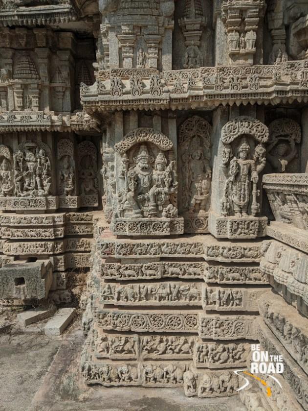 Lakshmi Narasimha and other carvings at 13th century Hoysala temple in Javagal, Karnataka