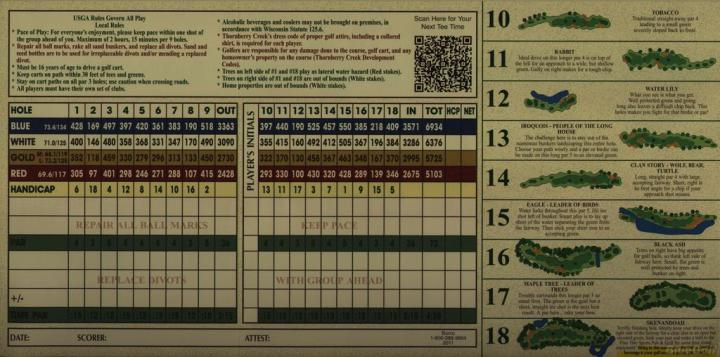 Thornberry Creek   Champ   Actual Scorecard   Course Database Thornberry Creek at Oneida   Championship