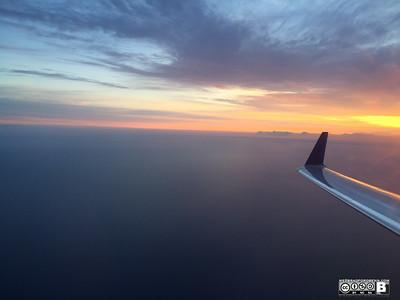 Somewhere over Lake Michigan watching the sunrise