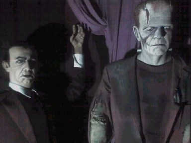 ikenesses of Bela Lugosi & Boris Karloff. The latter is a good recreation of the makeup in Bride of Frankenstein (though the display misidentifies the film as the original Frankenstein). Copyright 2005 Steve Biodrowski