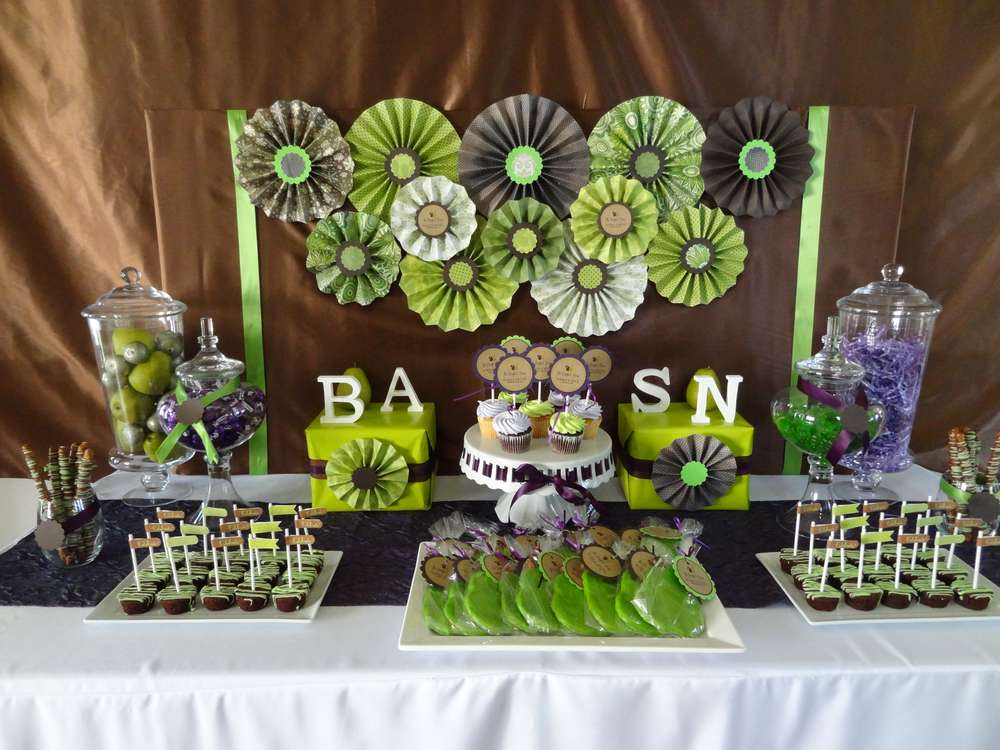 Purple Green And Brown Engagement Party Ideas Photo 5