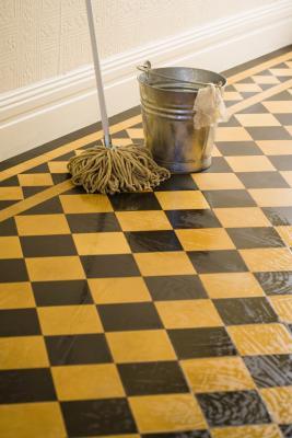remove water deposits from floor tiles