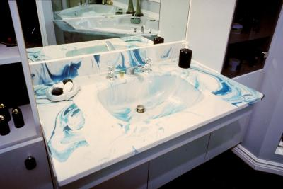 how to repair chips in a faux marble sink
