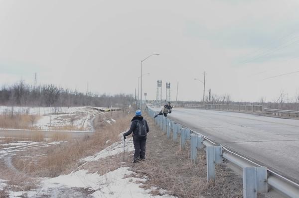 Hiking down a local road