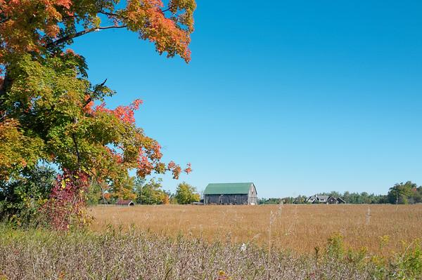 A grand autumn view of a farm.