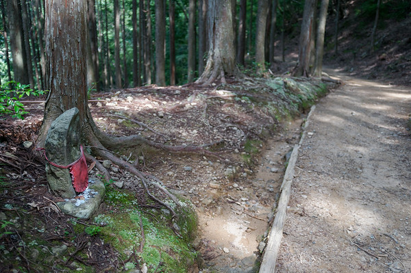 Jizo statues along the pilgrimage trail.
