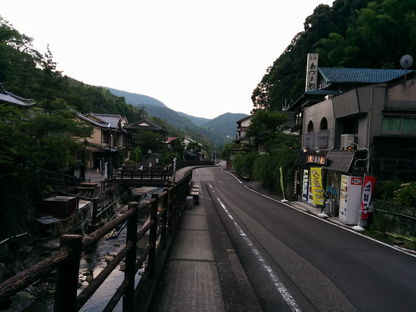 A main street running through the area of Yunomine Onsen.  Lots of traditional Ryokans here with access to some really hot water from the hot springs.