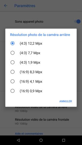 Choix de la résolution photo de la caméra arrière sur Google Nexus 5X (Android 8)