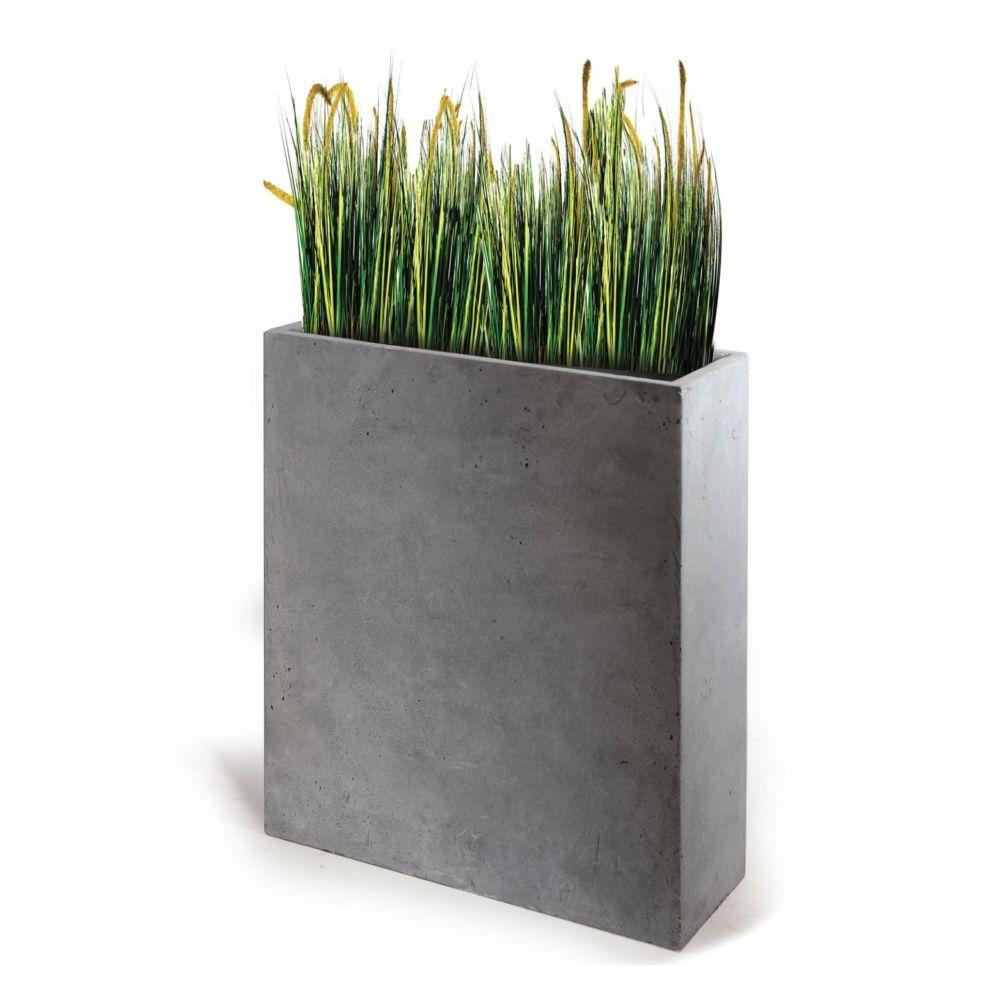 bac a fleurs fibre de terre clayfibre l60 h72 cm gris