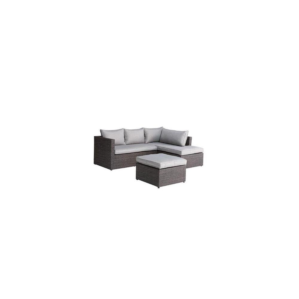 salon d angle lipari en resine tressee canape meridienne repose pieds gris