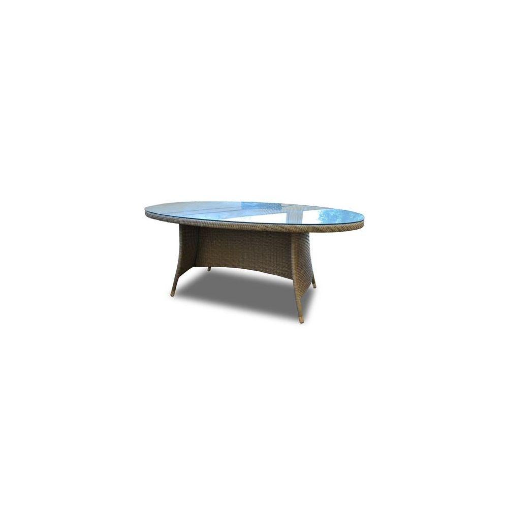 table ovale belfort en resine tressee plateau en verre trempe gris 10 personnes