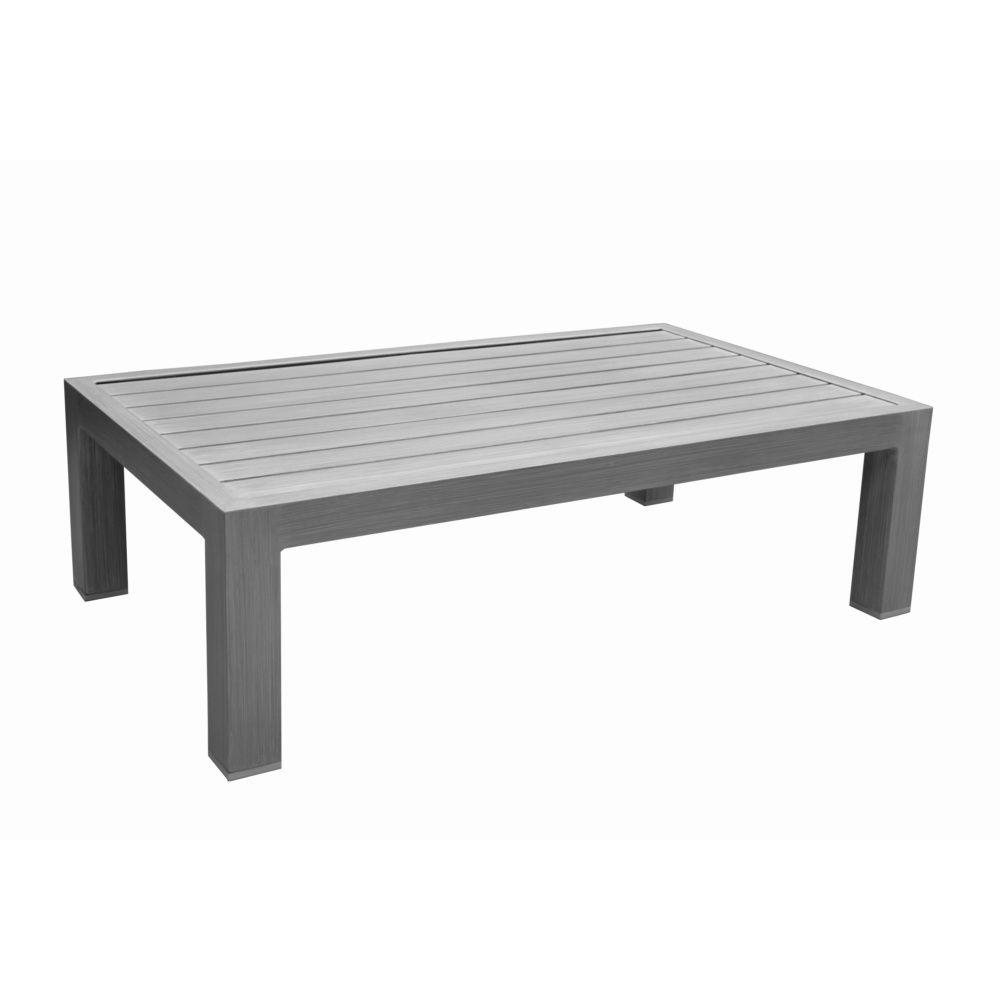 table basse milano aluminium l81 h40 cm gris