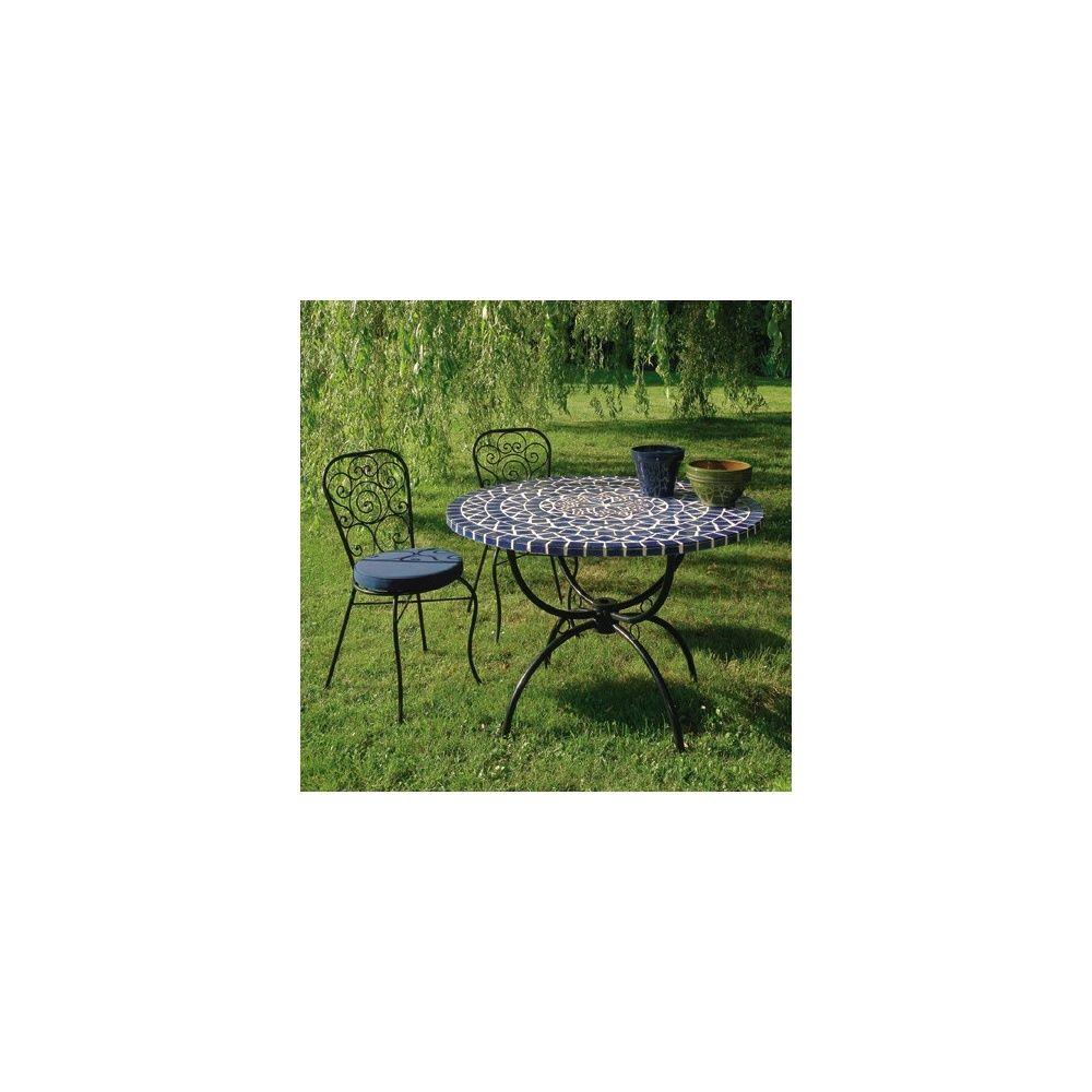 salon table ronde a mosaique o 110 cm 4 chaises en fer forge avec coussin