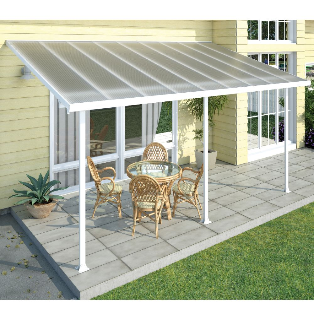 pergola toit terrasse aluminium et polycarbonate 5x3 m blanc