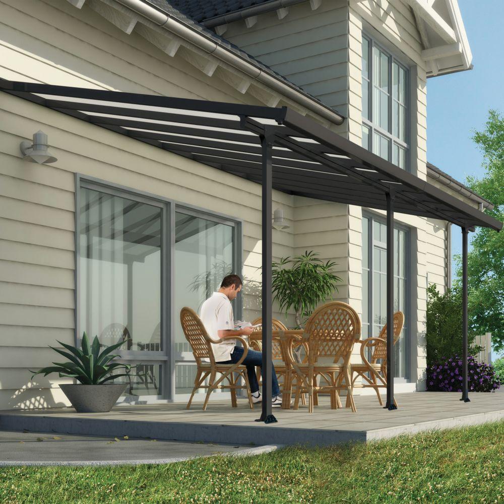 pergola toit terrasse aluminium et polycarbonate 5x3 m gris