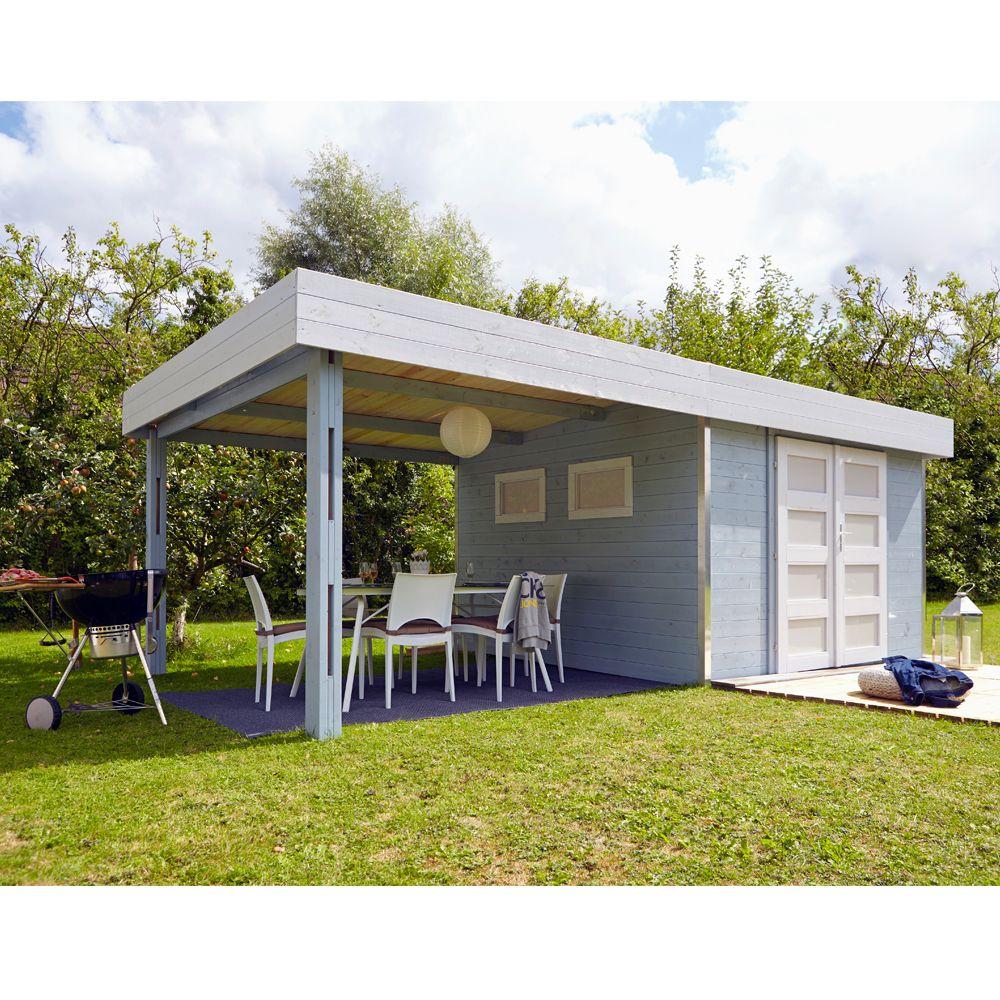 abri de jardin bois toit plat auvent lounj 20 37 m ep 28 mm