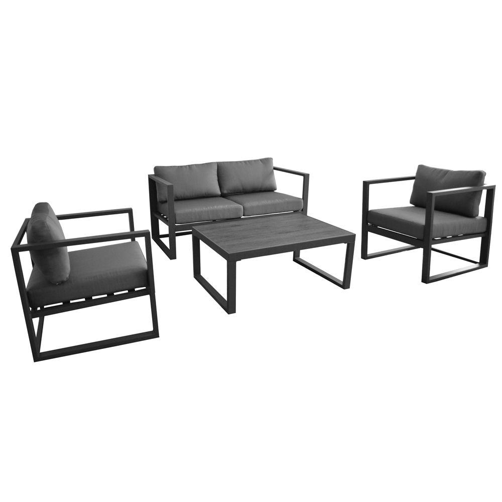 salon de jardin lounge manhattan canape table basse 2 fauteuils gris