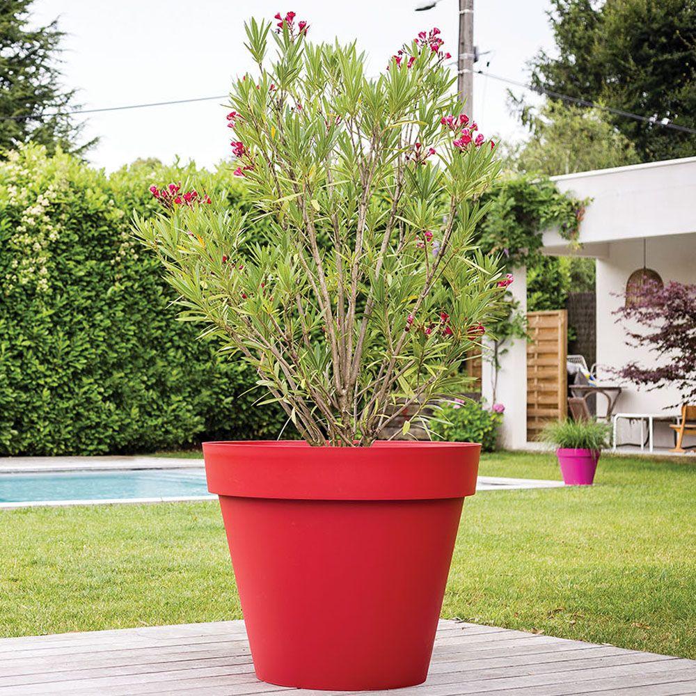 pot de fleur rond xl eda toscane plastique o100 h80 cm 356l rouge
