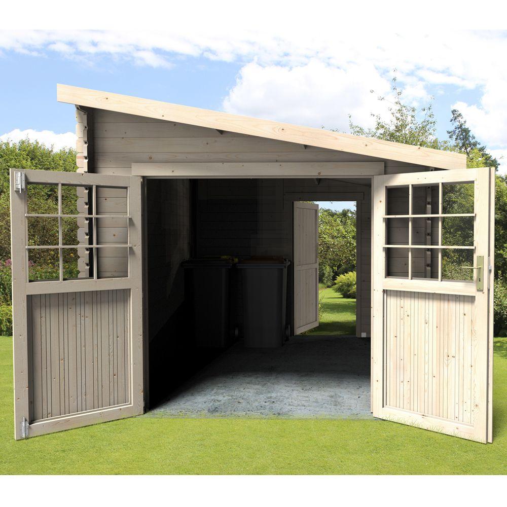 abri de jardin bois adossable esprit 9 59 m ep 28 mm
