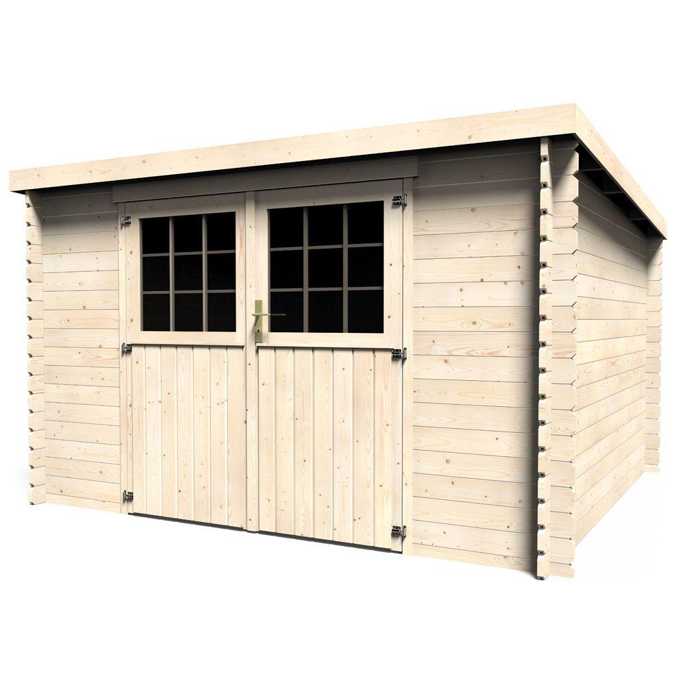 abri de jardin bois toit plat elan 9 90 m ep 28 mm