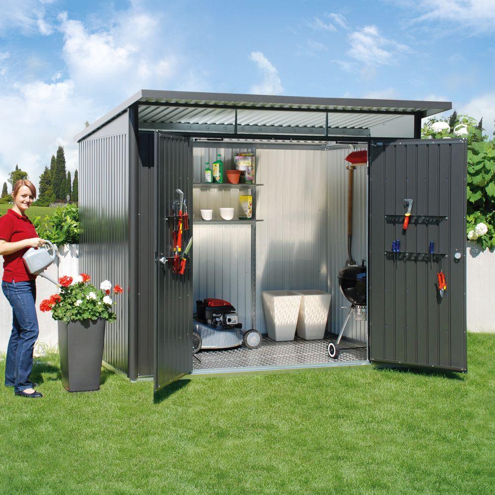 abri de jardin metal double porte 5 72 m ep 0 53 mm avantgarde biohort gris fonce