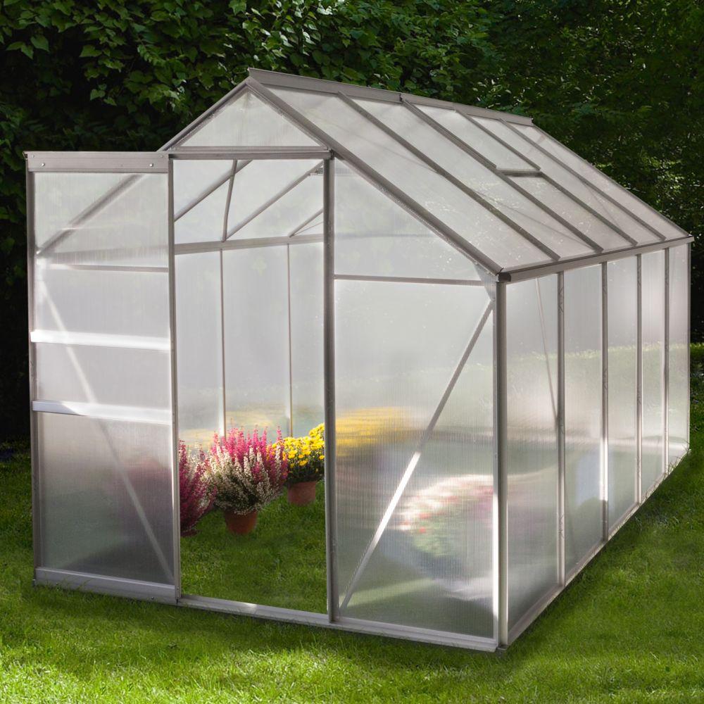 serre polycarbonate diamant grise 6 m chalet jardin